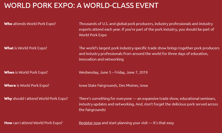 Who What Where of the World Pork Expo