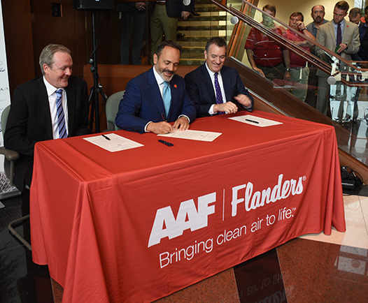 Governor Matt Bevin signing Open Investment Proclamation at AAF Flanders Global Headquarters in Louisville, KY
