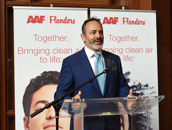 Governor Matt Bevin speaking at Open Investment Proclamation Event at AAF Flanders Global Headquarters in Louisville, KY